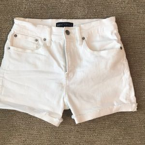 White demin high waist shorts